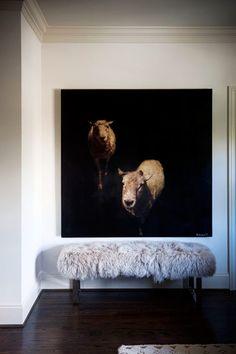 COPYRIGHTED please credit paul raeside, sugarboo designs, atlanta, georgia, lambswool, dark floor, homes & gardens