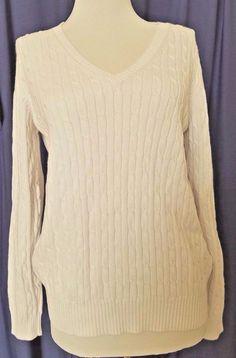 Eddie Bauer Stretch Cable Knit Sweater V Neck Womens size M Off white Pullover  #EddieBauer #VNeck #Work