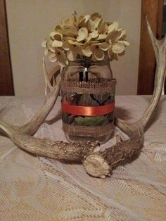 Camo wedding centerpiece