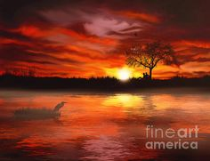 Time To Contemplate Print by ©ifourdezign available from #FineArtAmerica #Redbubble #Landscapes #Heron #wildlife #Silhouttes #Sunset #DigitalPainting (Please retain ALL credit - TY)