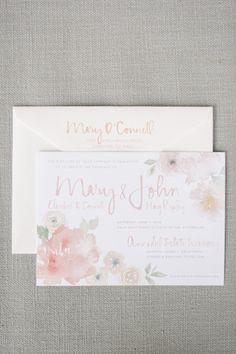 Floral watercolor invitations: http://www.stylemepretty.com/california-weddings/st-helena/2015/01/02/rustic-summer-wedding-at-annadel-estate-winery/ | Photography: Melanie Duerkopp - http://melanieduerkopp.com/