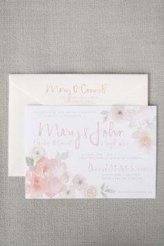Floral watercolor invitations: http://www.stylemepretty.com/california-weddings/st-helena/2015/01/02/rustic-summer-wedding-at-annadel-estate-winery/ | Photography: Melanie Duerkopp - http://melanieduerkopp.com/