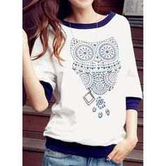 $9.09 Stylish Scoop Collar Owl Pattern Slimming 3/4 Sleeve Women's T-Shirt