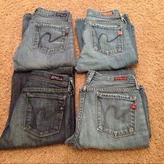 (4 PAIRS) Authentic Citizens of Humanity Sz24 REDUCED PRICE 😳😊 - Used Authentic Citizens of Humanity jeans.  These jeans have been alter with original hem.  I'm 5'2, the measurements are the same for all except bottom right.  Waist all around is 27, rise is 7 and inseam is 30.  Bottom right waist all around is 26, rise is 7, and inseam is 29. Thank you for checking my closet.  Happy Shopping! 😃 Citizens of Humanity Jeans