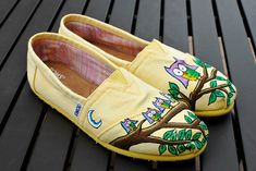 Owl TOMS shoes [Yellow Hand-Painted] // Etsy