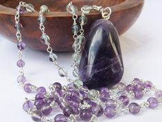 Amethyst pendant, purple amethyst, fluorite necklace, rainbow fluorite, very long necklace, no clasp necklace, sterling silver by graciedot on Etsy