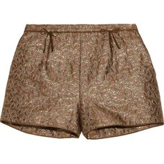 RED Valentino Metallic brocade shorts (1.600 ARS) ❤ liked on Polyvore featuring shorts, bottoms, pants, short, bronze, red valentino, bow shorts, short shorts, brocade shorts and loose short shorts