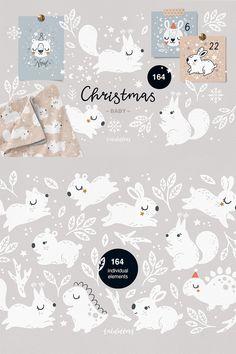 Christmas Wrapping, Christmas Tag, Christmas Trees, Baby Animals, Cute Animals, Folk Print, Woodland Animals, Advent Calendar, Illustration