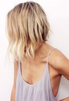Blonde bob. Love the more natural line to the inverted bob. Texture and layers.