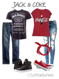 """A costume I can handle: clever, but comfortable """"Couples Costumes: Jack & Coke"""" by ourshabbynest on Polyvore #CoupleCostumes"""