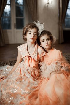 """Aristocrat Kids AW2017/18 collection """"Royal Treasures"""" #luxurychildrenswear #royaltailors #luxury #lace #royaltreasures #aw17 #silk #dress #childrenswear #satin #feathers #print #birds #pastel #peach #feather #dress #mohair #tulle #lace"""