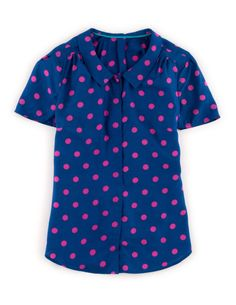 Boden Women's Brand New Salisbury Blouse Blue & Pink Spots with Silk