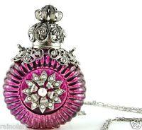 Vintage Vanity Purple Glass Perfume Bottle Silver Tone Filigree Crystal Necklace