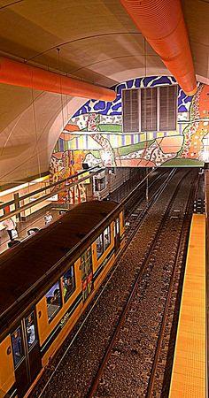 Buenos Aires underground, mosaics art in the walls