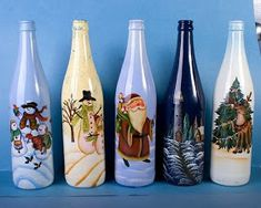 I also have Painted Wine Bottles. It gets very addicting to do :) Recycled Wine Bottles, Painted Wine Bottles, Painted Jars, Painted Wine Glasses, Decorated Bottles, Glass Bottles, Wine Bottle Glasses, Wine Bottle Corks, Wine Bottle Crafts