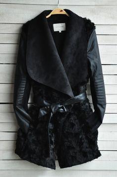 leather fashion fur coat