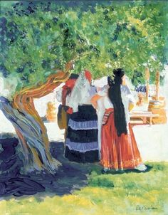 Afternoon Shade, acrylic painting on canvas by RD Riccoboni®, one of America's favorite cultural heritage artists.  From The Beacon Artworks Gallery Collection at Fiesta de Reyes in  Old Town San Diego State Historic Park.