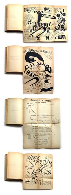 """Some pages from """"Les Mots en liberté futuristes"""" Original and documented edition from Filippo Marinetti Art Deco Typography, Lettering, Typography Letters, Book Design Layout, Book Cover Design, Italian Futurism, Futurism Art, Art Graphique, Graphic Design Illustration"""