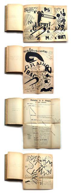 Algunas imágenes de un magnífico libro de 1919 : Les Mots en liberté futuristes. Edición original y firmada por el propio Marinetti
