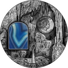 FIRST OF CRYSTAL ART SERIES - Two Ounce 999 Silver Coin with a Crystal Insert. The first Crystal Art coin, 2 Oz of pure 99.99% Sil...