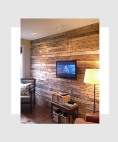 DIY Wood Pallet Wall for the basement Diy Wood Pallet, Wood Pallets, Pallet Walls, Recycled Pallets, Pallet Boards, Pallet Ideas, Pallet Art, Recycled Wood, Barn Boards