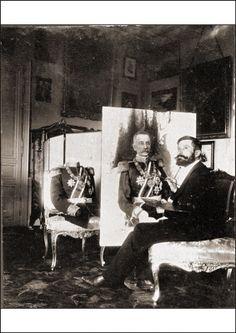 Nikola Milivojević, slikar - radi na portretu Kralja Petra. Nikola Milivojević, an artist working on the portrait of King Petar of Serbia