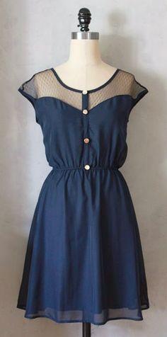 5db0cfee6ec3 PETIT DEJEUNER DRESS - Navy blue chiffon dress with black lace neckline     retro    party    day    nautical    bridesmaid dress   holiday
