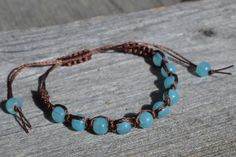 Turquoise and brown beaded macrame bracelet. by SinonaDesign