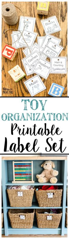 Toy Organization Printable Labels and Playroom Storage | Bless'er House #Toyroom #organization