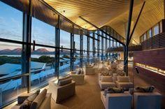 Beautiful, wavy ceiling in resort restaurant