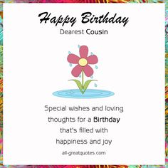Cousin Quotes for Facebook | Free Birthday Cards For Cousin – Happy Birthday Dearest Cousin