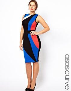 YES PLEASE. ASOS CURVE Exclusive Bodycon Dress In Colour Block