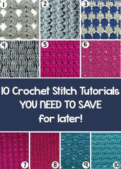 10 Crochet Stitch Tutorials