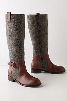 Anthropologie Herringbone Boots