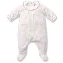 Witte babypyjama met roze dots
