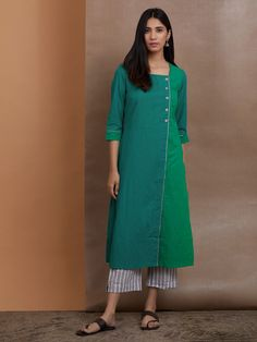 Buy Green Cotton Kurta with Grey Striped Pants- Set of 2 online at Theloom