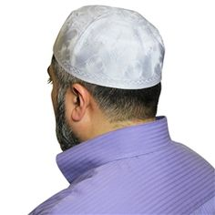 White Cotton Blend with Embroidery Muslim Prayer Mens Skull Cap Knitted Kufi