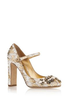 Silk Cotton Metallic Mary Jane Pumps With Crystal Embellishment by DOLCE & GABBANA Now Available on Moda Operandi