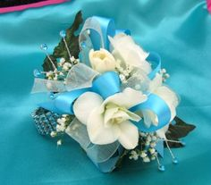 silver and blue prom wrist corsages - Google Search