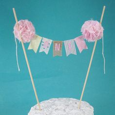 Shabby chic cake banner Pink first Birthday by Hartranftdesign, $25.00