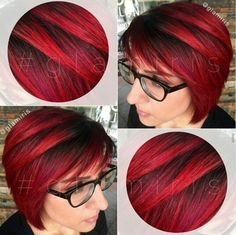 Bright red with dark roots. Beautiful! But why red has to fade so fast....