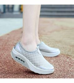 Women's #grey #rocker bottom sole shoe sneakers with air sole unit helps absorb impact, check style, sewing thread design, Slip on, casual, leisure sport occasions.