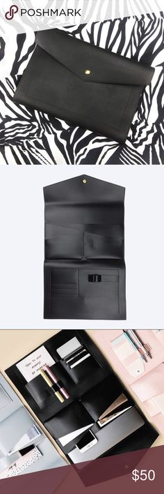 Glass Ladder & Co.'s The Megan Portfolio in Black Do The Needful, Vegan Leather, Black Leather, Leather Portfolio, Metal Buttons, Black Glass, Ipad Case, Matte Black, Ladder
