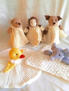 Knitting pattern for Mini Cuddly Blankies with bear, dog, elephant, duck, and monkey Also known as blanket buddy, lovey, lovie, comfort blanket, blanket toy, blankie, security blanket, woobie, cuddle.