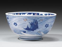 A GOOD UNDERGLAZE BLUE AND RED BOWL, CHINA, QING DYNASTY, KANGXI MARK AND PERIOD (1662-1722)