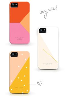 How cute are these geometric patterns? Coral red, peach orange, vibrant pink, snow white, and polka dots for your iPhone / PHONE CASES / DESIGNLOVEFEST
