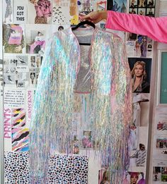 Unicorn Cascade Iridescent Tinsel Jacket Pre-Order 4 Weeks (Made to Order) Look Festival, Rave Festival, Festival Wear, Festival Outfits, Festival Fashion, Diy Festival Clothes, Make Up Inspiration, Do It Yourself Fashion, Rave Outfits