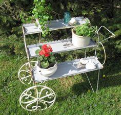 Vintage Metal Planter Mid Century Modern Metal Cart by treasureagain