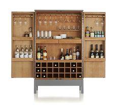 Crate & Barrel Victuals Grey Bar Cabinet