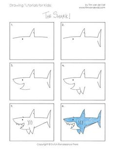 how to draw a shark - Drawing Tips Drawing Tips Toddler Drawing, Drawing For Kids, Art For Kids, Draw Animals For Kids, Drawing Lessons, Drawing Techniques, Drawing Tips, Learn Drawing, Art Lessons